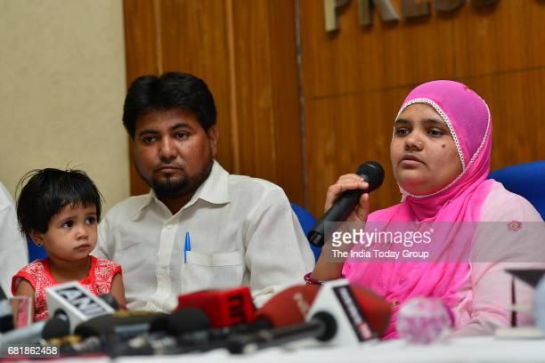 Indian rape survivor Bilkis Bano during a press conference New Delhi