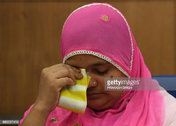 Indian rape survivor Bilkis Bano reacts during a press conference New Delhi on May 8 2017 An Indian court May 4 convicted five police officers and...