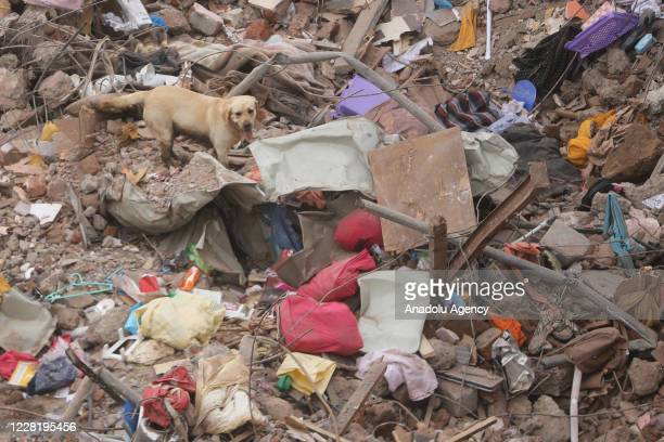 Indian rescue workers search for people in the rubble of a collapsed five-storey apartment building in Mahad on August 25, 2020. One person was...