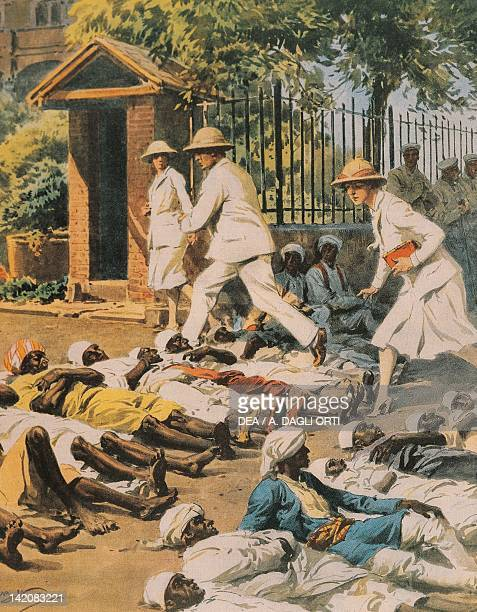 Indian Revolution Passive resistance in the streets of Delhi Illustrator Achille Beltrame from La Domenica del Corriere 1930