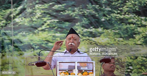 Indian right wing Rashtriya Swayamsevak Sangh chief Mohan Bhagwat speaks at a rally in Pune some 135 kms from Mumbai on January 3 2016 Over 150000...