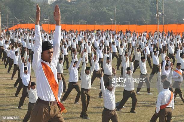 Indian right wing Rashtriya Swayamsevak Sangh volunteers activites in formation at a rally at Kolkata Briged Pared Ground on January 142017 in...