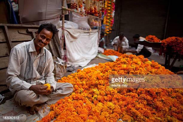 CONTENT] Indian roadside flower vendor strings garlands of marigolds for sale on Diwali Diwali the festival of lights dedicated to the Goddess of...