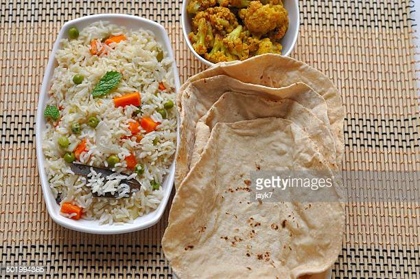 Indian roti and fried rice