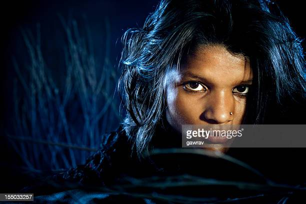 Indian rural girl looking at me intently