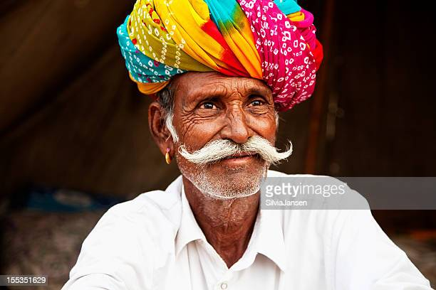 indian rural senior man portrait