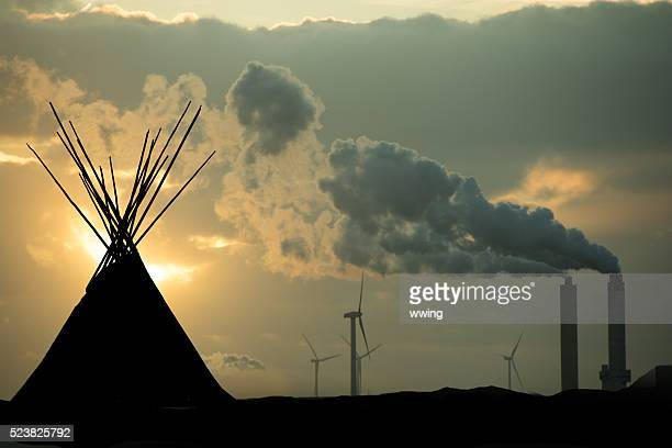 indian sacred grounds violated by industry and technology - first nations stock pictures, royalty-free photos & images