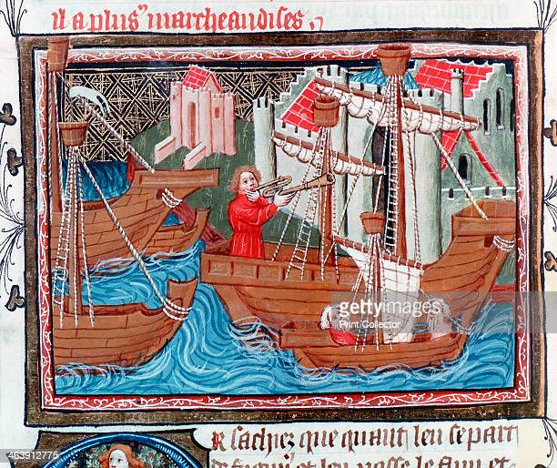 Indian sailing ships described by Marco Polo 15th century The ships are cogs the general European trading vessels of the time The figure in the...