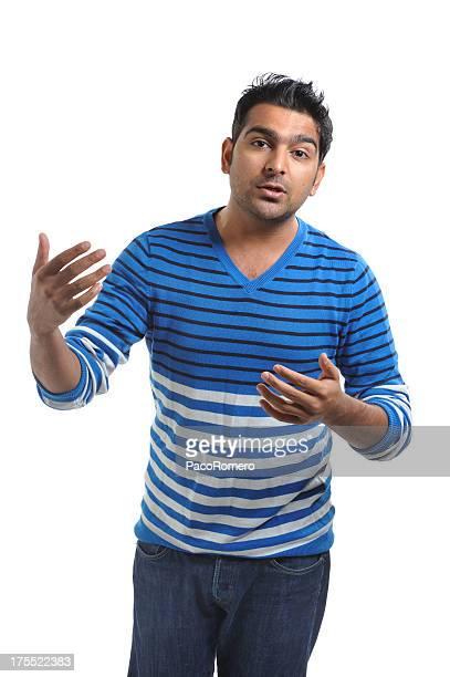 indian vendedor de explicar y comunicando - handsome pakistani men fotografías e imágenes de stock