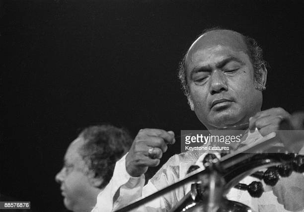 Indian sarod player Ali Akbar Khan performing with Ravi Shankar at The Concert for Bangladesh Madison Square Garden New York City 1st August 1971 On...