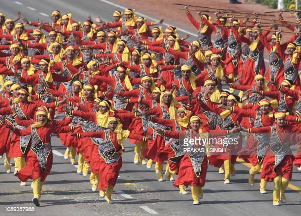 Indian school children perform during the 70th Republic Day parade in New Delhi on January 26 2019 India celebrated its 70th Republic Day