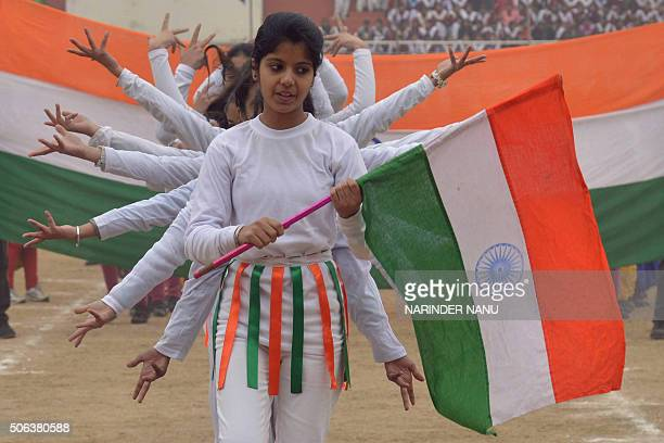 Indian school students perform during a rehearsal for the upcoming 67th Republic Day parade in Amritsar on January 23 2016 India will celebrate its...