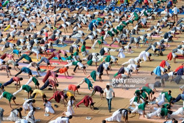 Indian school students take part in a yoga camp in Hyderabad on June 20 ahead of International Yoga Day celebrated every year on June 21 Yoga which...