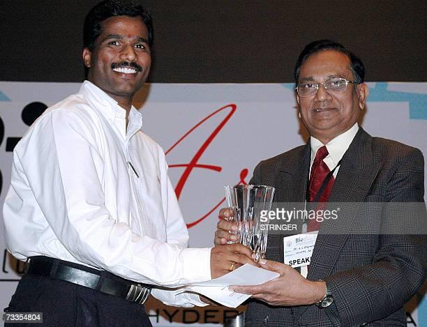 Indian scientist Dr Madhusudhan Reddy from the Centre for DNA Fingerprinting receives the Bio Asia 2007 Innovation award from Dr K V Raghavan...