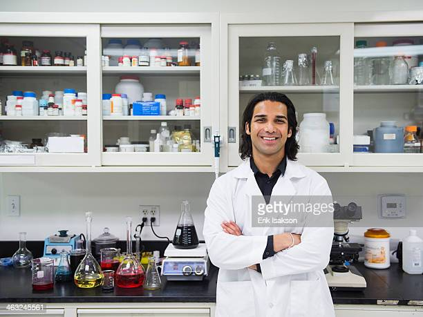 Indian scientist working in laboratory
