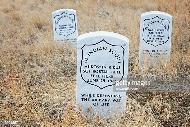 Indian Scout Death Markers at Little Bighorn Battlefield Monument