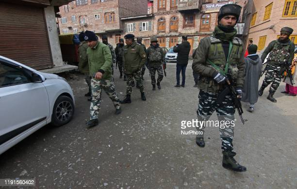 Indian security forces arrive at the spot after an explosion occured in old city Srinagar Kashmir on January 04 2020One civilian sustained minor...