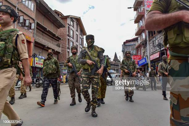 LAL CHOWK SRINAGAR JAMMU KASHMIR INDIA Indian security officers seen patrolling during the operation A massive Cordon and Search Operation by the...