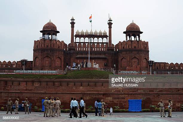 Indian security personnel gather in front of The Red Fort in New Delhi on August 11 ahead of Independence Day celebrations on August 15 / AFP /...