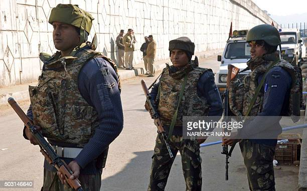 Indian security personnel stand alert on a road leading to an airforce base in Pathankot on January 2 2016 Suspected Islamist gunmen have staged a...