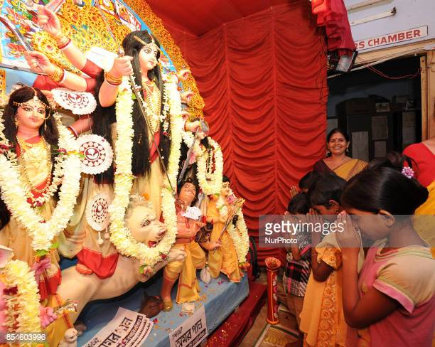 Indian Sex Worker childrens part in the Durga Puja at Asia Biggest Red Light area on September 272017 in Kolkata cityIndia