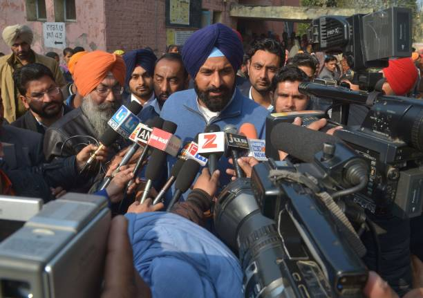 Indian Shiromani Akali Dal party candidate for Member of Legislative Assembly from Majitha Bikram Singh Majithia speaks to media after casting his...