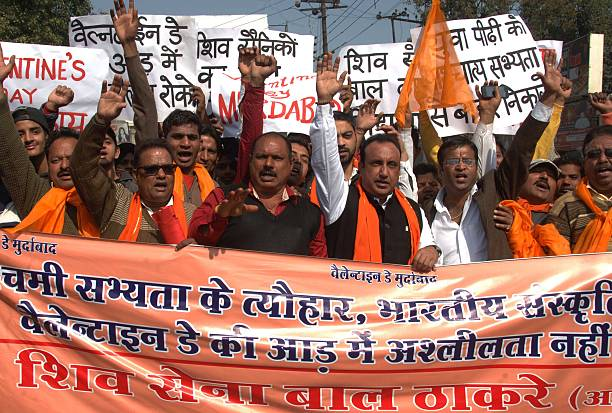 Indian Shiv Sena activists take part in a demonstration denouncing Valentine`s Day in Amritsar on February 13 2015 The Shiv Sena strongly oppose...