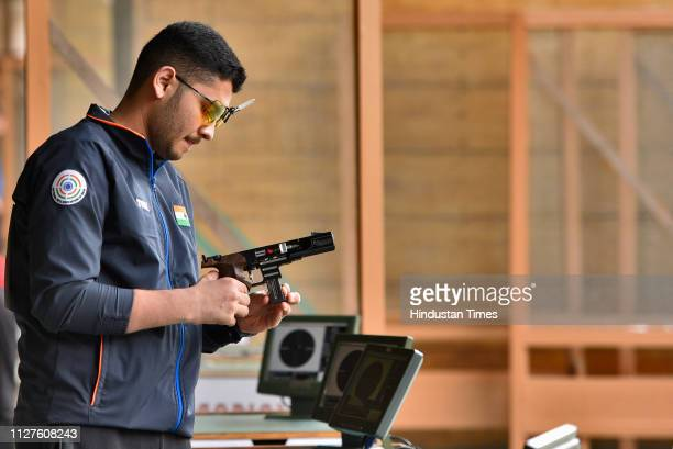 Indian shooter Anish Bhanwala during men's qualifiers of 25m Rapid Fire Pistol at ISSF world cup at Karni Singh Shooting Ranges on February 26 2019...