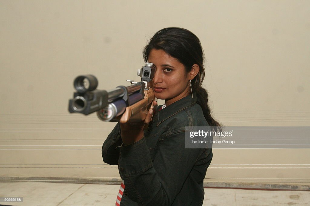 Indian shooter Anjali Bhagwat Vedpathak in action at the launch of The Topgun Shooting Academy in New Delhi. : News Photo