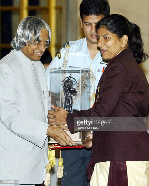 Indian shooter Deepali A Deshpande silver medal winner at the 2004 Asian Shooting Championships receives the prestigious Arjuna Award from Indian...