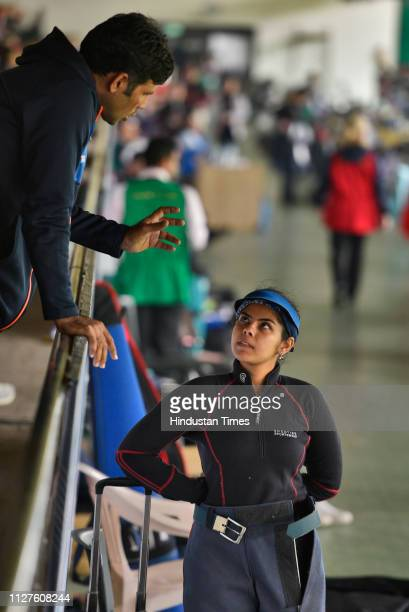 Indian shooter Gayatri during women's 50m air rifle qualifiers at ISSF World Cup at Karni Singh Shooting Ranges on February 26 2019 in New Delhi India