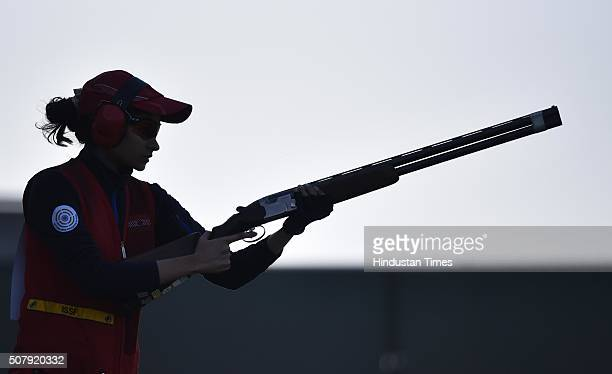 Indian Shooter Saniya Sheikh during the Skeet Women match of Olympic Qualifying Competition at Dr Karni Singh Shooting Range on February 1 2016 in...