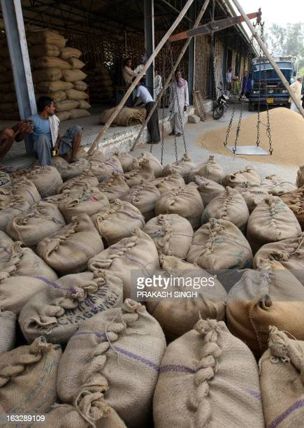 Indian shopkeepers wait for customers besides a stock of wheat in bags at a wholesale grain market in Ghaziabad some 35kms east of New Delhi on April...