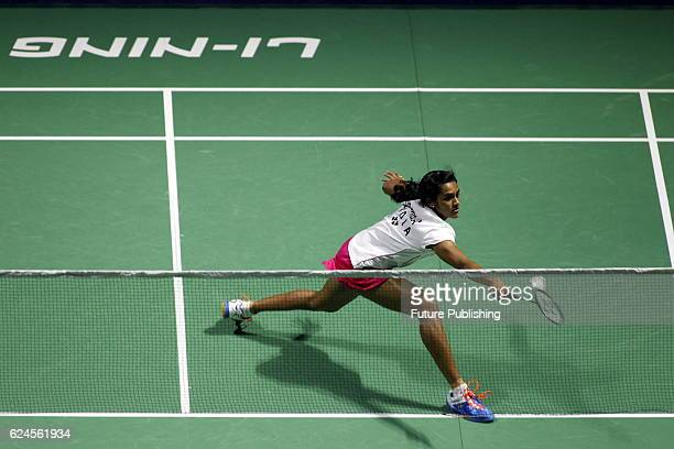 Indian shuttler PV Sindhu returns a hit against China's Sun Yu during the final of women's singles in the badminton China Open on November 20 2016 in...