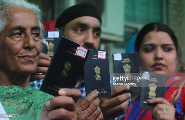 Indian Sikh pilgrims arrive at Wagah Railway Station to attend the Baisakhi festival outskirts of Lahore, Pakistan on April 11, 2015. Thousands of...
