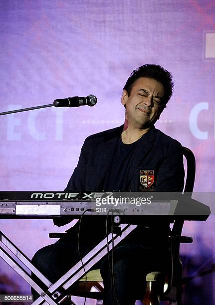 Indian singer and actor Adnan Sami Khan performs during the 71st birthday party for director and producer Subhash Ghai in Mumbai on January 24 2016...