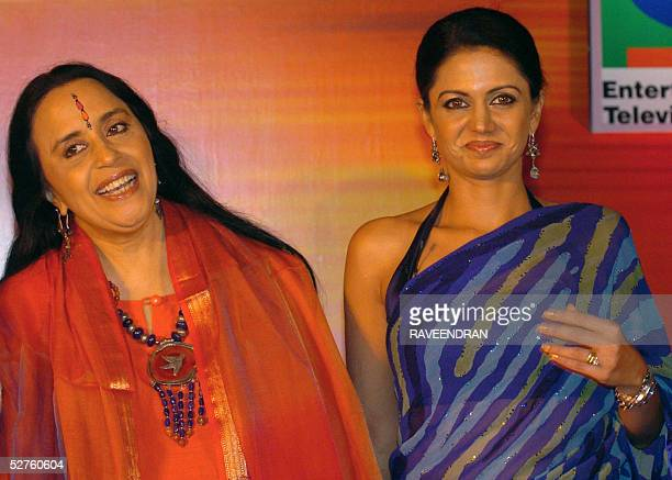 Indian singer Ila Arun and actress Mandira Bedi share a light moment as they pose for photographers at the launch of Sony Entertainment Television's...