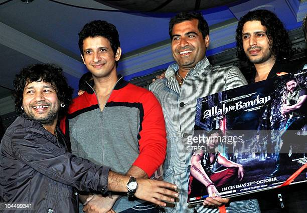 Indian singer Kailash Kher Bollywood actors Sharman Joshi and Shailendra singh and director Faruk Kabir attend the music launch ceremony for the...