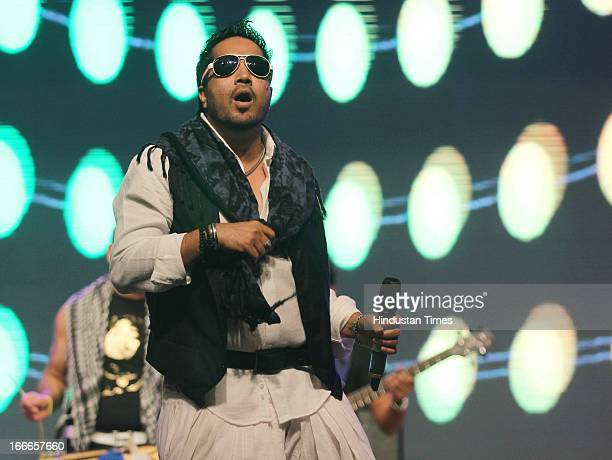 Indian singer Mika performs at Baisakhi Celebration cohosted by G S Bawa and Punjab Association Of India on April 13 2013 in Mumbai India