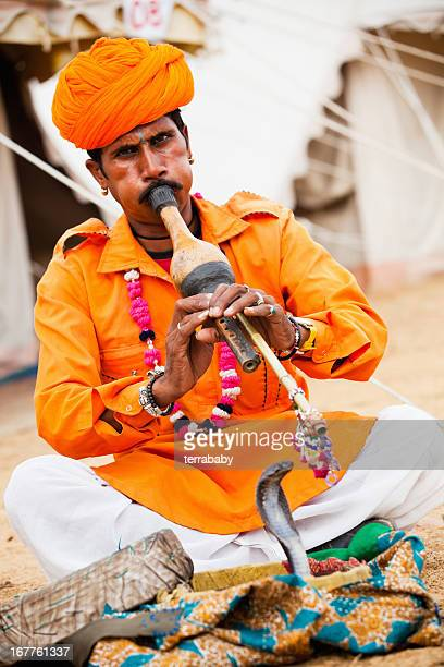 indian snake charmer - indian music stock photos and pictures