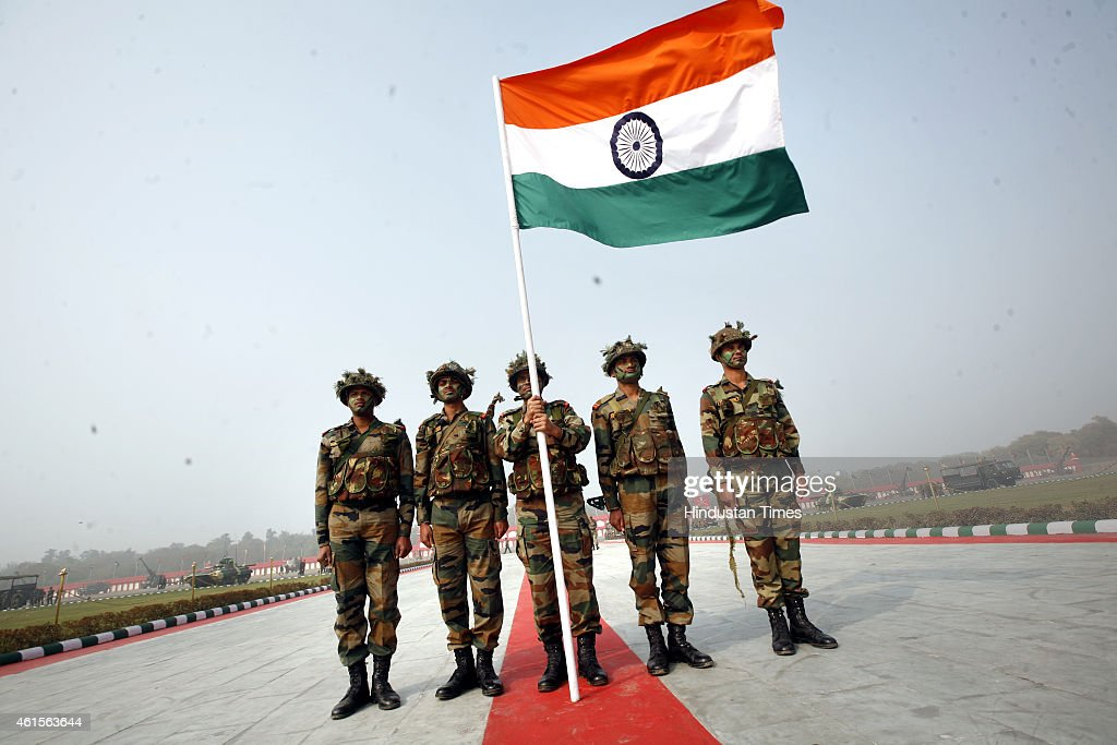 Flag Festival India: Indian Soldiers Hold Up Their National Flag As They