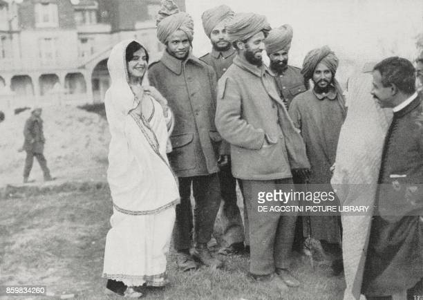 Indian soldiers injured during the battles Indian troops in England UK World War I photo by Trampus from L'Illustrazione Italiana Year XLII No 12...