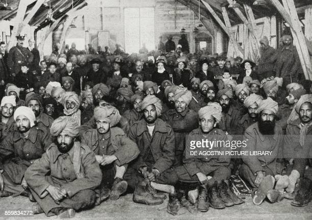 Indian soldiers injured during the fights attending a show organized by Red Cross ladies Indian troops in England UK World War I photo by Trampus...