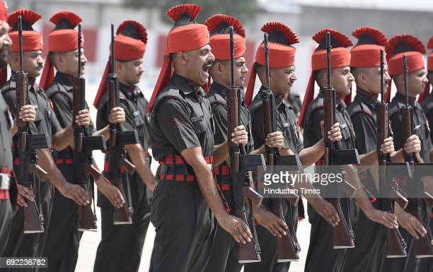 Indian soldiers line up to pay homage after the Army Chief Bipin Rawat paid tribute to martyrs Naik Dipak Maity and Gnr/Opr Manivannan G who laid...