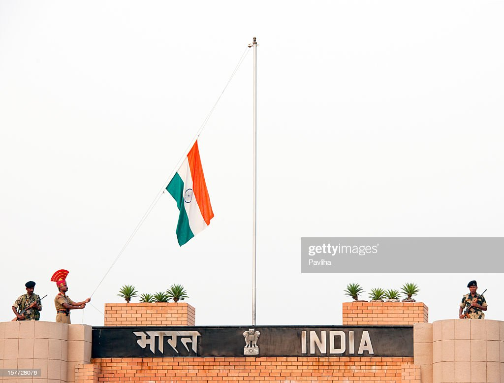 Indian Soldiers Lowering Flag Wagah