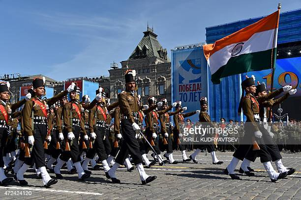 Indian soldiers march as they take part in a rehearsal for the Victory Day military parade on Moscow's Red Square on May 7 2015 Russia will celebrate...