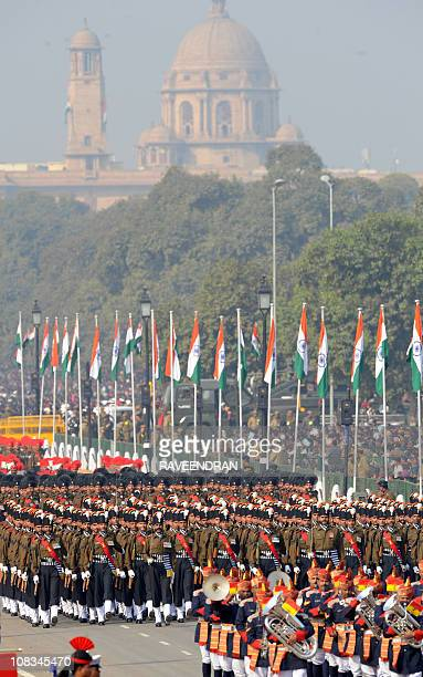 Indian soldiers march down Rajpath during the Republic Day parade in New Delhi on January 26 2011 India celebrated its 62nd Republic Day under heavy...