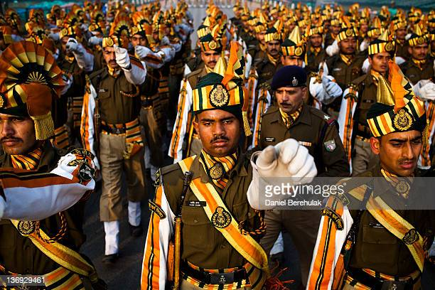 Indian soldiers march in preparation for the upcoming Republic Day parade on January 11, 2012 in New Delhi, India. Republic Day is celebrated every...