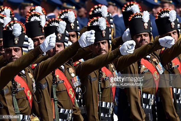 Indian soldiers march through Red Square during the Victory Day military parade in Moscow on May 9 2015 Russian President Vladimir Putin presided...
