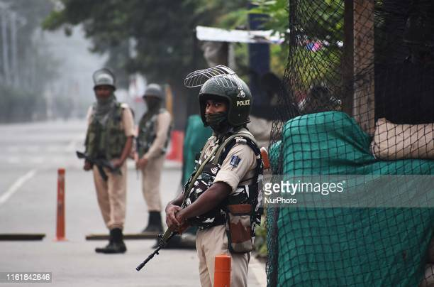 Indian soldiers patrol the deserted street during the official celebration of India's Independence day in SrinagarKashmir on August 15 2019...